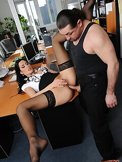 Skinny Hungarian secretary gets her back hole smashed in office