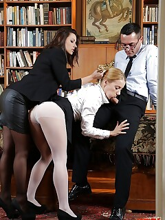 Office secretary Cindy Hope and her gf Nikky Thorne in a threesome