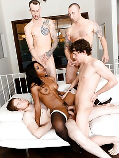 Hot black chick gets gangbanged by a group of white boys