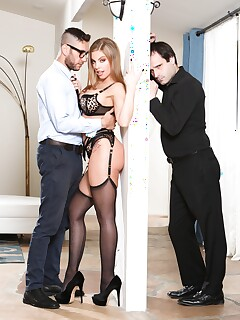 Beautiful blonde Britney Amber ties up her man before hardcore sex with a guy