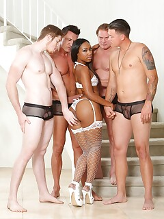 Gorgeous ebony chick facialized and drilled in gangbang
