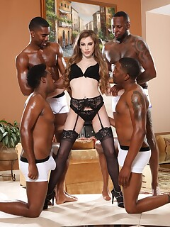 White girl in lingerie gets fucked and jizzed by four black guys