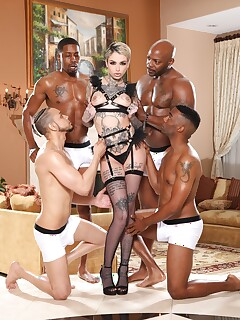 Kinky blonde gets gang banged by multiple rock-solid BBCs