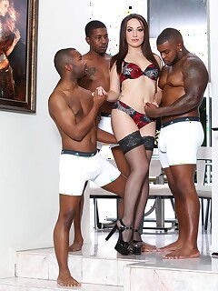 Pale chick Marley Blaze is ravaged by a group of black men & their BBC