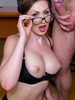 Yasmin Scott MILF and Secretary Gets Cum on Her Glasses
