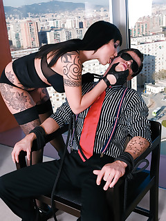 Dominating bitch slaps her slave around the place