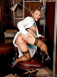 Mischievous Anilos doctor teases her tits and pussy with a stethoscope