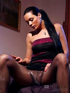 aPantyhose - Luxury leggy whore in shiny grey pantyhose