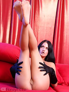 aPantyhose - Sexy brunette shows perfect legs in sheer pantyhose