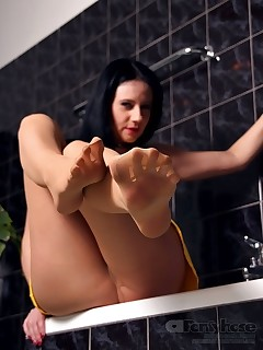 aPantyhose - Sexy whore in nude pantyhose is ready for action in the bathroom!