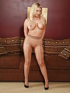 Blonde wife posing in pantyhose.