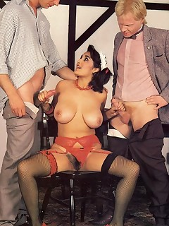 Rodox Busty retro lady riding two cocks with her her hairy pussy