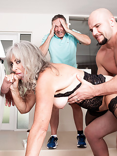60 Plus MILFs - <b>Silva Foxx's three-way cuckold session</b> - Silva Foxx, J Mac, Jimmy Dix, and Nick (46 Photos)