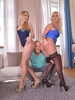 Leggy Sensations: Mind-Blowing Blondes Blow Cock For Cum free photos and videos on HotLegsandFeet.com