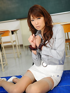 Curly haired Yuuno Hoshi cuffed in the office | Japan HDV