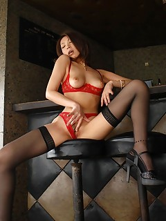 June - Lovely and hot Asian lingerie model shows off